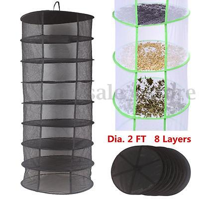 2FT 8 Layer Tier Collapsible Hydroponic Plant Grow Hanging Dry Drying Net Rack