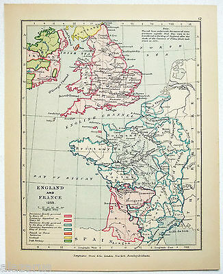 Vintage Longmans Map of England & France in the Year 1259