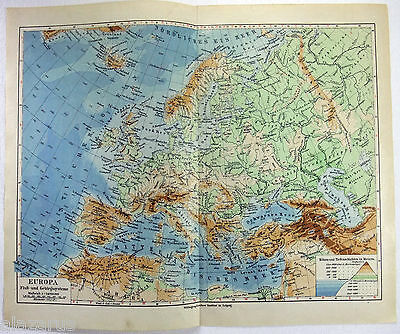Original 1924 German Physical Map of Europe by Meyers
