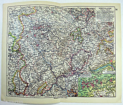 Original 1928 German Map of The Rheinland, Germany by Meyers