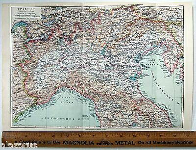 Original 1924 German Map of Northern Italy