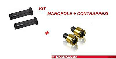 Barracuda Kit Manopole Racing Supergrip Nere + Contrappesi Oro Honda Cb 1000 R