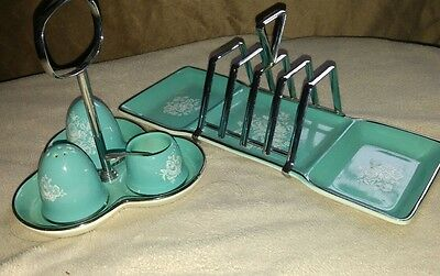 Vintage Midwinter Stylecraft Turquoise Blue Toast Rack Condement set Retro