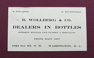 #245 - ca 1905 DEALER IN WHISKEY BOTTLES FLASKS adv card WOLLBERG Washington DC