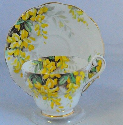 Laburnum by Royal Standard Vintage Bone China Tea Cup & Saucer Yellow Floral (Te