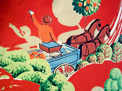 Vintage mid century novelty fabric pastoral horses wagon antique curtain panels!