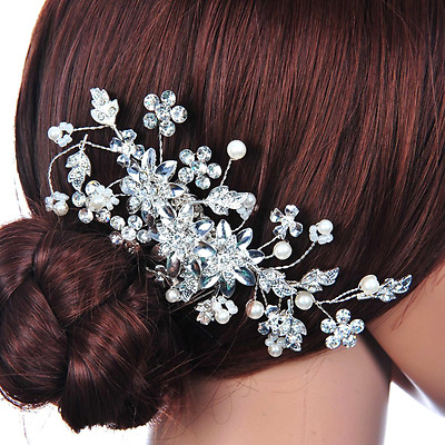 Pixnor Hair Pin Bridal Hair Comb for Wedding Crystal Rhinestones Pearls Decor(Si