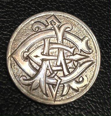 "Beautiful Love Token Pin Brooch On Canada Fifty Cent Silver ""ACE"". Amazing Art!"