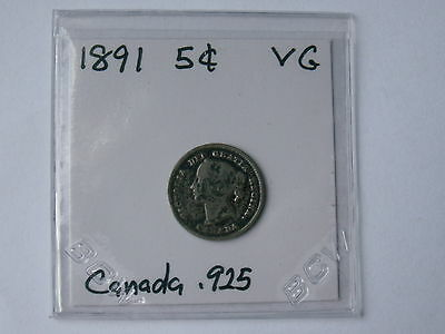 1891 Canada Silver Five Cent Piece ( Nice Even Vg, My Opinion )