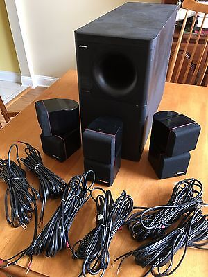 bose acoustimass 7 subwoofer with 3 redline double cube speakers w/wires!