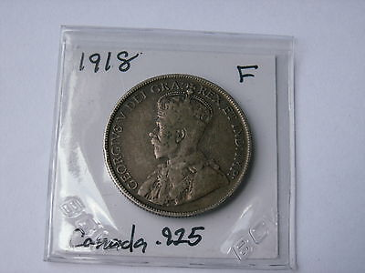 1918 Canada Silver Fifty Cent Coin ( Fine +, My Opinion ) .925 Sterling