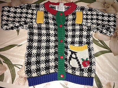 Vintage Knit Giorgio Sant' Angelo Girl's School Button Down Sweater, Size 5-6 M