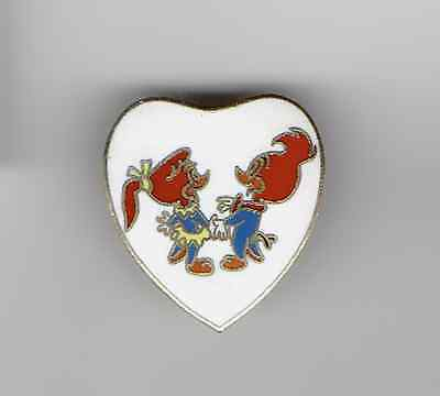 VHTF Vtg 1970s Winnie & Woody Woodpecker Enamel Heart Pin Tie Tack (Girlfriend)