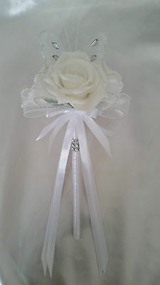 White Wedding Flowers Bride Bridesmaids Flower Girl Butterfly Wands White Satin
