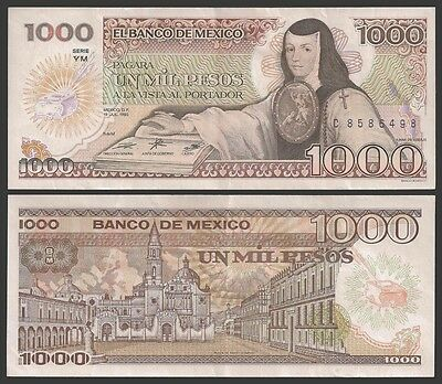 Mexico 1000 PESOS 1985 YM Signature 6 P 85 VF+  OFFER !