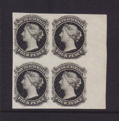 SA 4d Imperforate Plate Proof Marginal block of 4 in black on thin card **RARE**