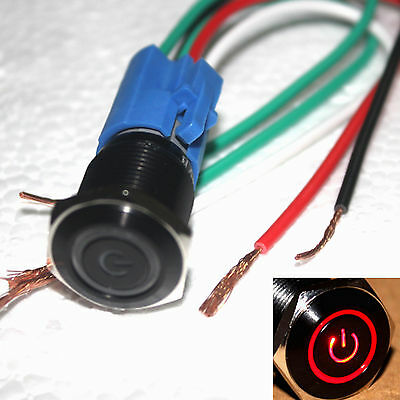 Black 16mm 12V Red Power symbol LED on/off  Push button switch W/ socket plug