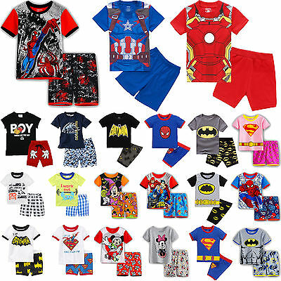 2PCS Kids Boys Short Sleeve T-shirt + Shorts Pants Casual Beach Outfits Clothes
