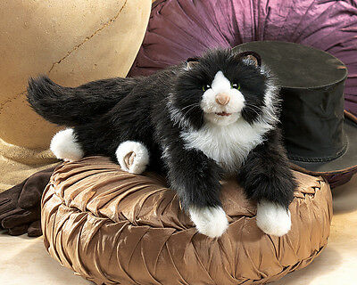 *NEW* PLUSH SOFT TOY Folkmanis 2955 Black White Tuxedo Cat Hand Puppet