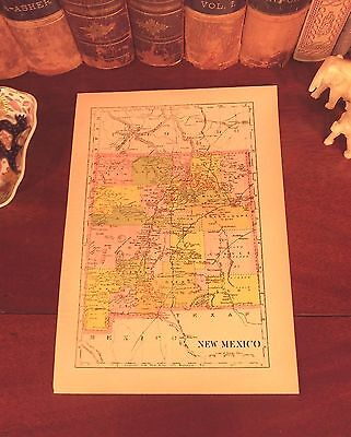Original 1893 Antique Map NEW MEXICO Albuquerque Las Cruces Roswell Santa Fe NM