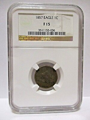 1857 Flying Eagle 1c NGC F15 - Popular First Year Type Coin - Flying Eagle Cent