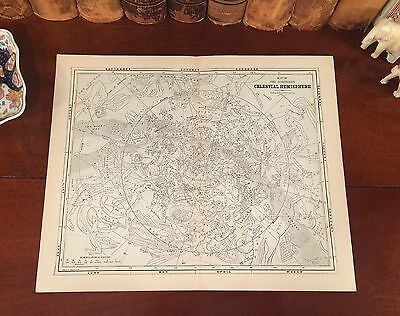 Fine Original 1882 Antique Astronomy Map CELESTIAL STARS Southern Hemisphere
