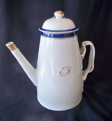 "Old Chinese Export 9"" Porcelain Coffee Pot"