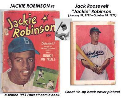 JACKIE ROBINSON # 5 1st African American in Major Leagues! SCARCE READER A$K $28
