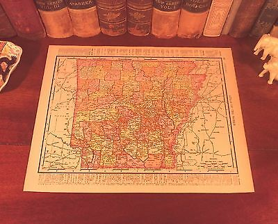 Original 1898 Antique Map ARKANSAS Fayetteville Jonesboro Little Rock Helena AR
