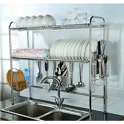 Dish Drying Rack Drainer Kitchen Stainless Steel 2-Tier Draining Cutlery Holder