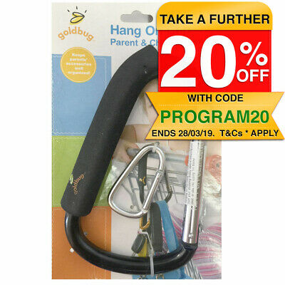 2pc Snap On Clip Hook Holder for Handbag/Shop/Nappy Bag/Trolley/Stroller Black