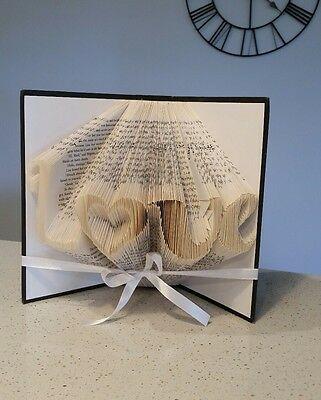 Love Heart Folded Book Art Decor Gift First Anniversary Birthday Present