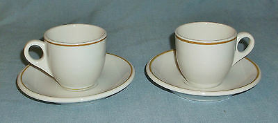 Pair of Shenango China Demitasse Cups & Saucers White w/ Brown Stripe Restaurant