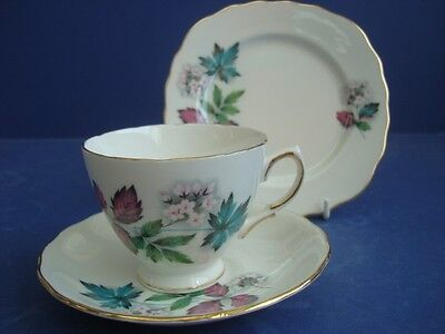 Royal Vale Spring Pink Buds & Gilt Trio Cup Saucer  Plate Wedding / Shabby Chic