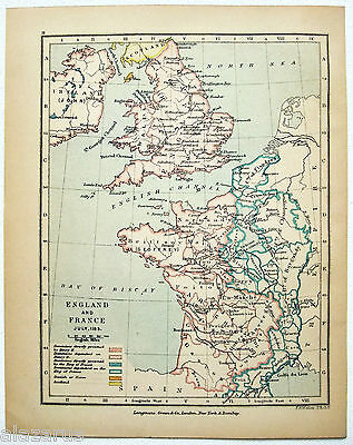 Vintage Longmans Map of England and France in July 1185