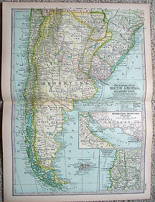 Original 1897 Map of The Southern Portion of  South America by The Century Co.