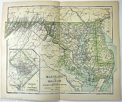 Original 1895 Map of Maryland & Delaware by Dodd Mead & Company