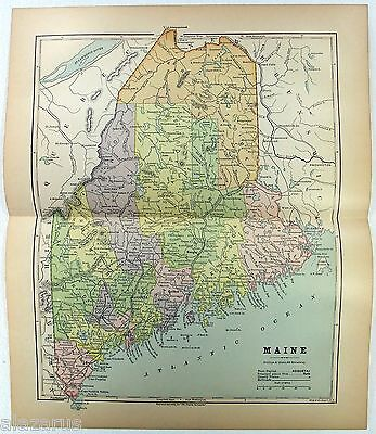 Original 1882 Map of Maine by Phillips & Hunt