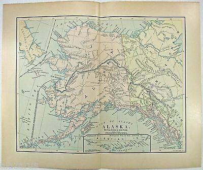 Original 1905 Map of Alaska by Fisk & Company