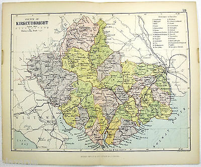 Original Philips 1882 Map of The County of Kirkcudbright, Scotland