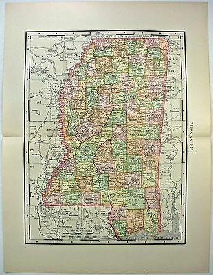 Original 1895 Map of Mississippi by Rand McNally