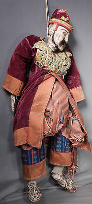 Antique Chinese Carve Wood Polychrome SILK Marionette Puppet Genghis Khan Mongol