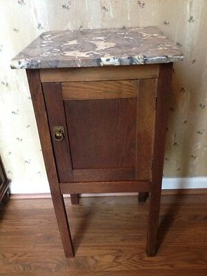 True Antique French Country Marble Top Nightstand - Tall Oak Side Cabinet