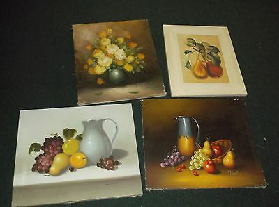 Vintage Canvas Painting Lot Of 4