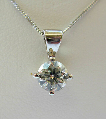 New Quarter carat .25ct Diamond Solitaire 9ct White Gold Pendant & Chain £185.00