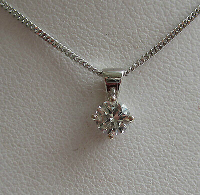 1/3ct Third of a carat Diamond Solitaire 9ct White Gold Pendant & Chain £289.99