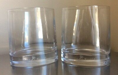 Johnnie Walker Whiskey Etched Glass Advertising Oblong Heavy Bottom Lot Of 2