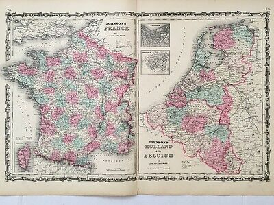 1862 Original Antique Map of France, Holland and Belgium, Johnson and Ward