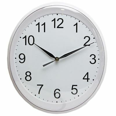 Wm.Widdop Silver Coloured Oval 29.5cm Wall Clock Silent Sweep Clear Numbers