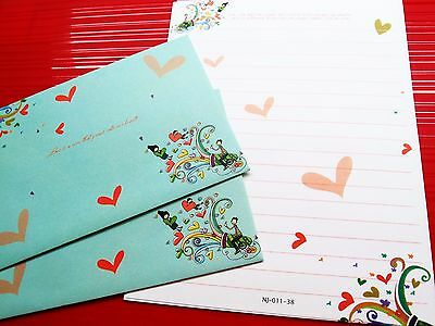 Sweet Love Letter Pad Set Writing Fancy Colorful Paper Envelope Crafts Gift D-2